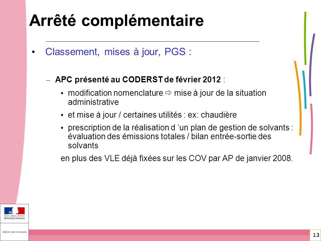13 Classement, mises à jour, PGS : – APC présenté au CODERST de février 2012 : modification nomenclature mise à jour de la situation administrative et