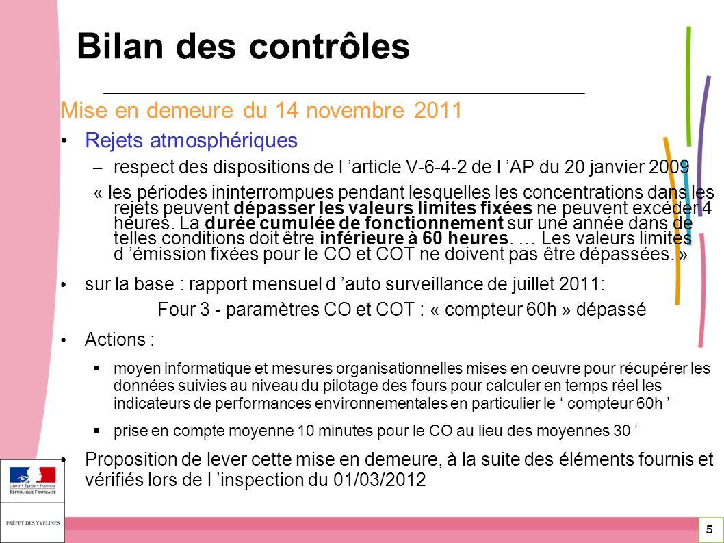 5 5 Mise en demeure du 14 novembre 2011 Rejets atmosphériques – respect des dispositions de l article V-6-4-2 de l AP du 20 janvier 2009 « les période