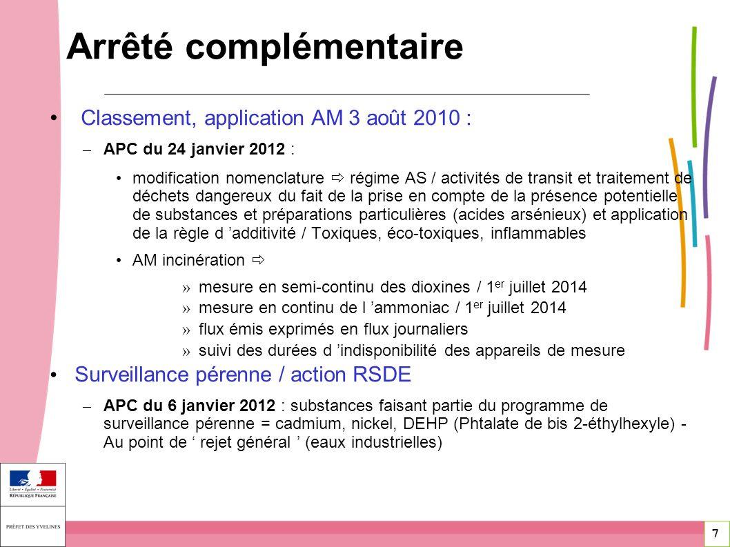 7 7 Classement, application AM 3 août 2010 : – APC du 24 janvier 2012 : modification nomenclature régime AS / activités de transit et traitement de dé