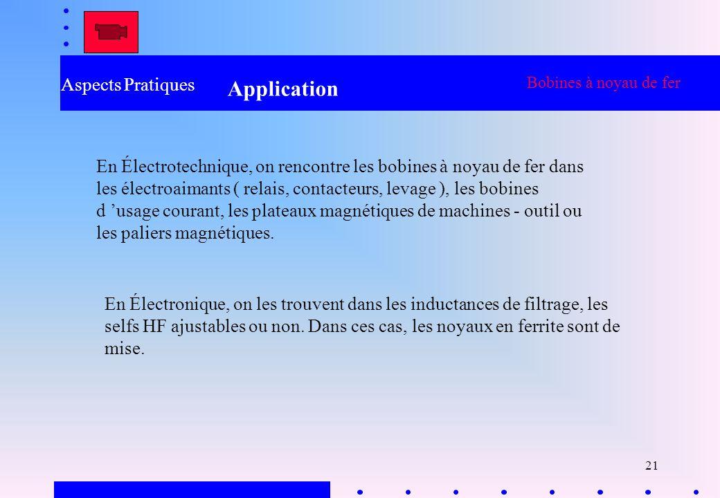 21 Aspects Pratiques Application Bobines à noyau de fer En Électrotechnique, on rencontre les bobines à noyau de fer dans les électroaimants ( relais,