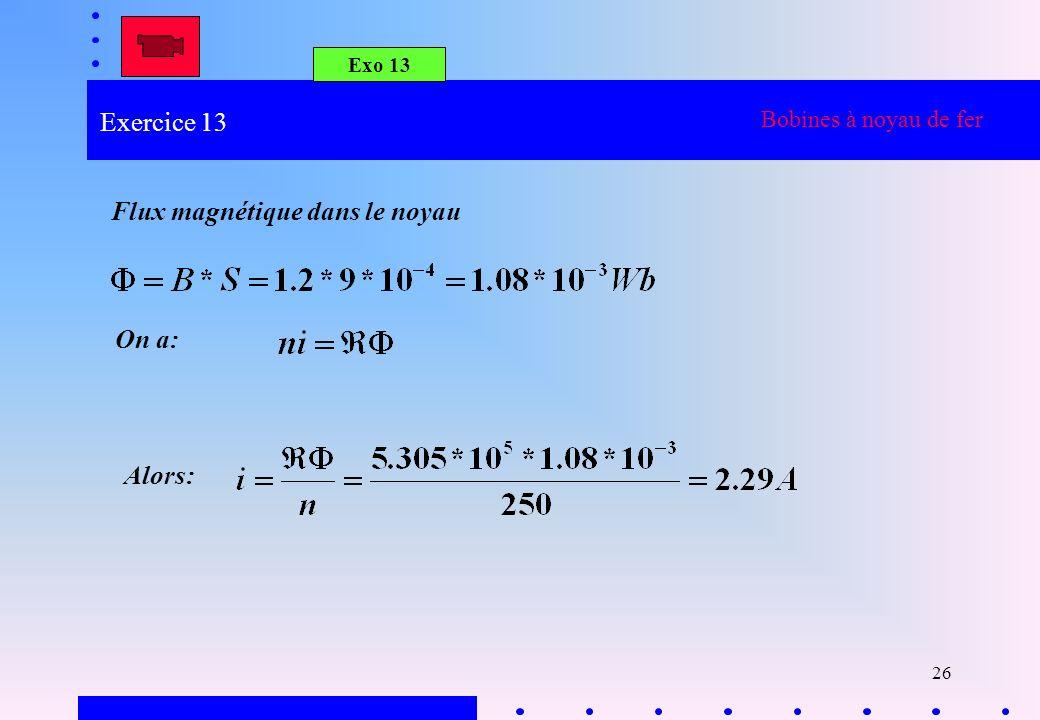 26 Exo 13 Bobines à noyau de fer Flux magnétique dans le noyau On a: Alors: Exercice 13