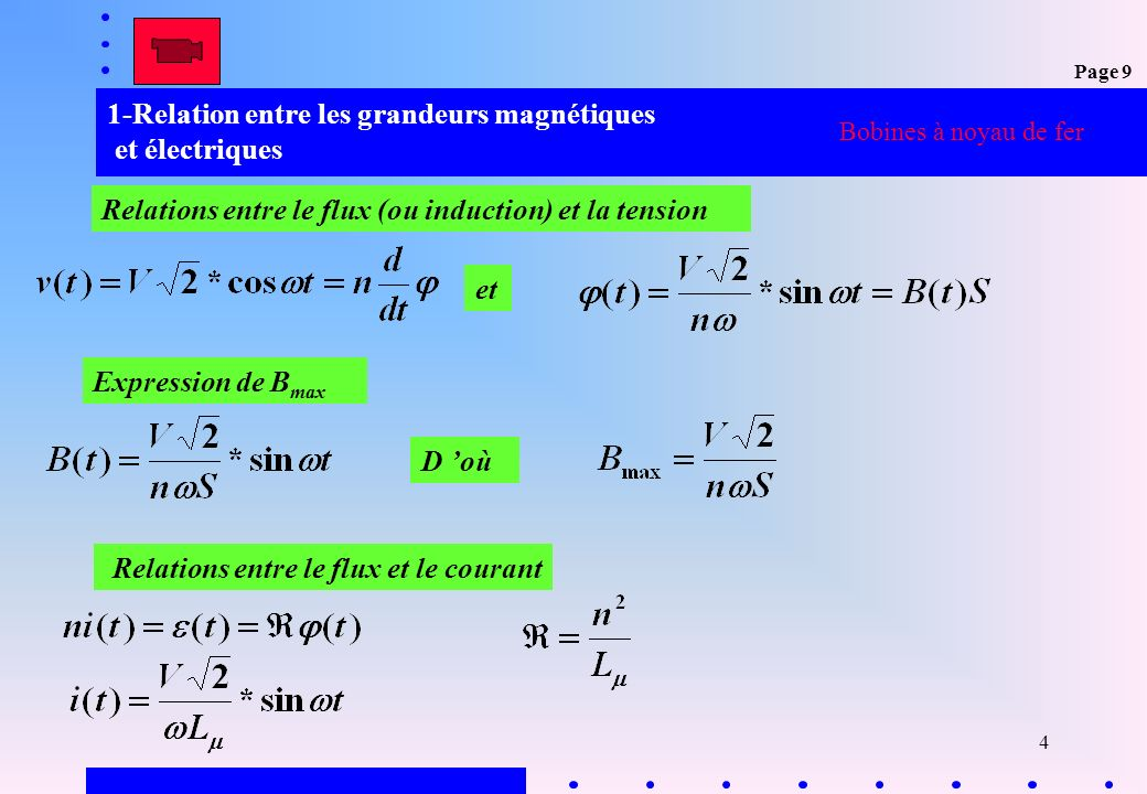 4 1-Relation entre les grandeurs magnétiques et électriques Bobines à noyau de fer Relations entre le flux (ou induction) et la tension Relations entr