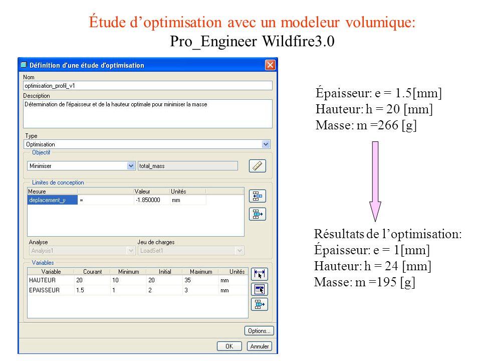 Étude doptimisation avec un modeleur volumique: Pro_Engineer Wildfire3.0 Résultats de loptimisation: Épaisseur: e = 1[mm] Hauteur: h = 24 [mm] Masse: