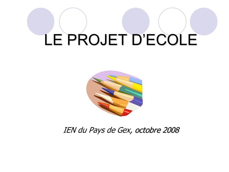 LE PROJET DECOLE, octobre 2008 LE PROJET DECOLE IEN du Pays de Gex, octobre 2008