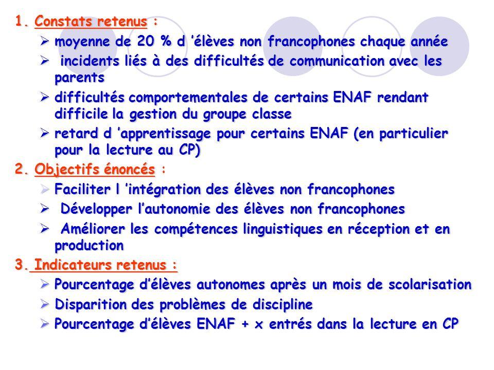 1. Constats retenus : moyenne de 20 % d élèves non francophones chaque année moyenne de 20 % d élèves non francophones chaque année incidents liés à d