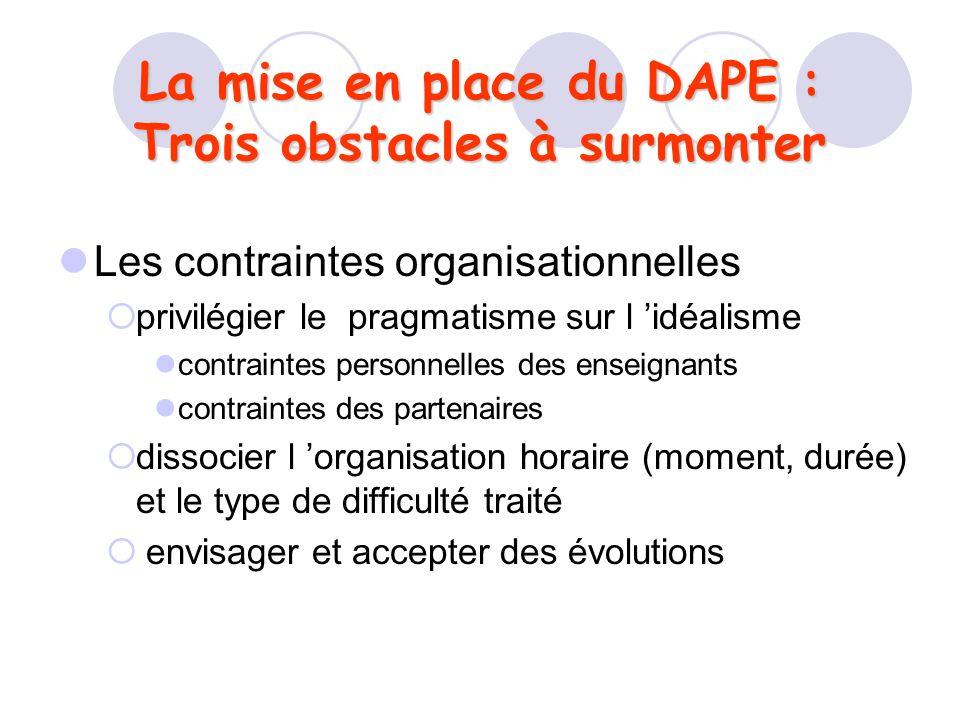 La mise en place du DAPE : Trois obstacles à surmonter Les contraintes organisationnelles privilégier le pragmatisme sur l idéalisme contraintes perso