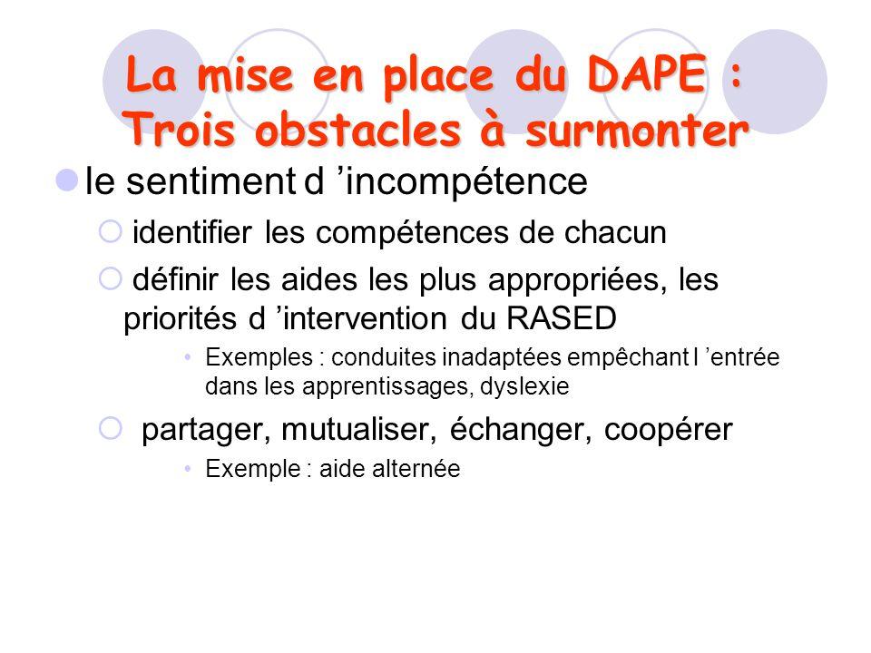 La mise en place du DAPE : Trois obstacles à surmonter le sentiment d incompétence identifier les compétences de chacun définir les aides les plus app