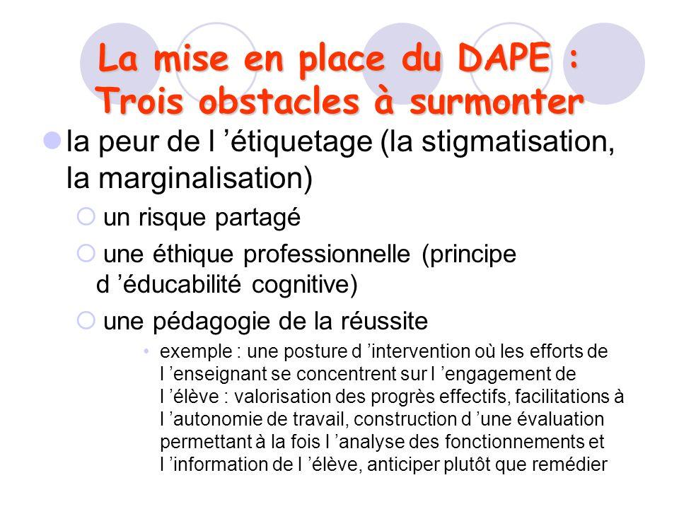 La mise en place du DAPE : Trois obstacles à surmonter la peur de l étiquetage (la stigmatisation, la marginalisation) un risque partagé une éthique p