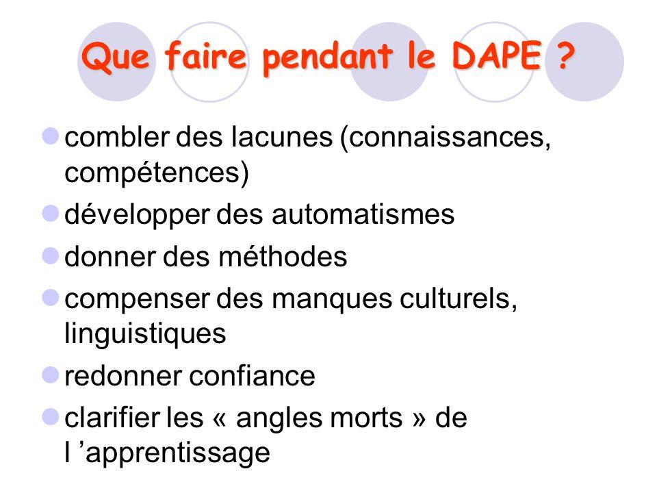 Que faire pendant le DAPE ? combler des lacunes (connaissances, compétences) développer des automatismes donner des méthodes compenser des manques cul