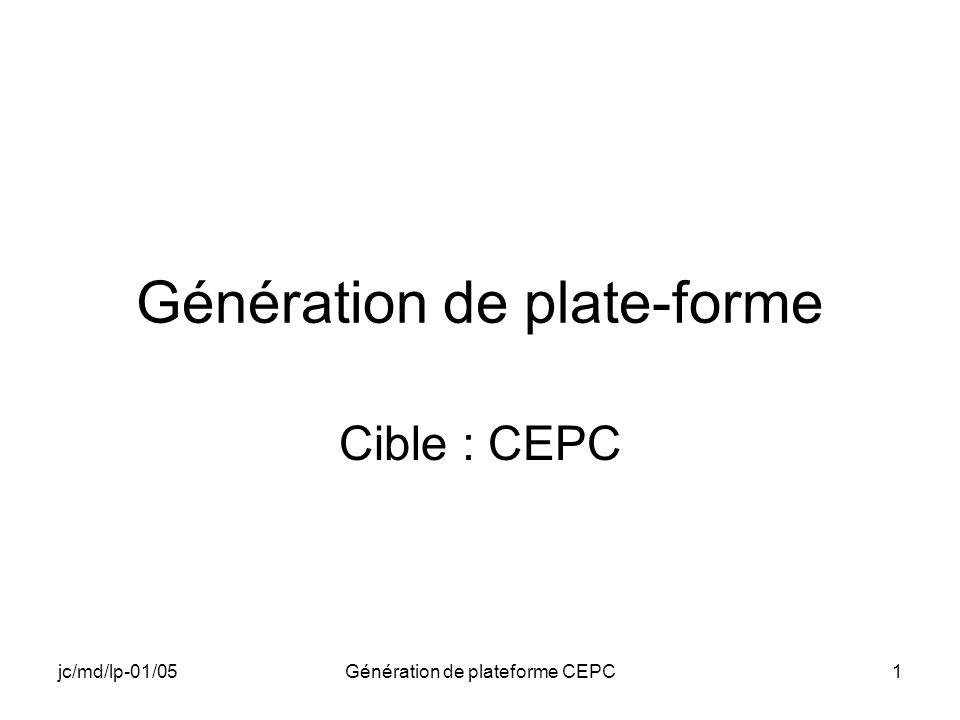 jc/md/lp-01/05Génération de plateforme CEPC1 Génération de plate-forme Cible : CEPC