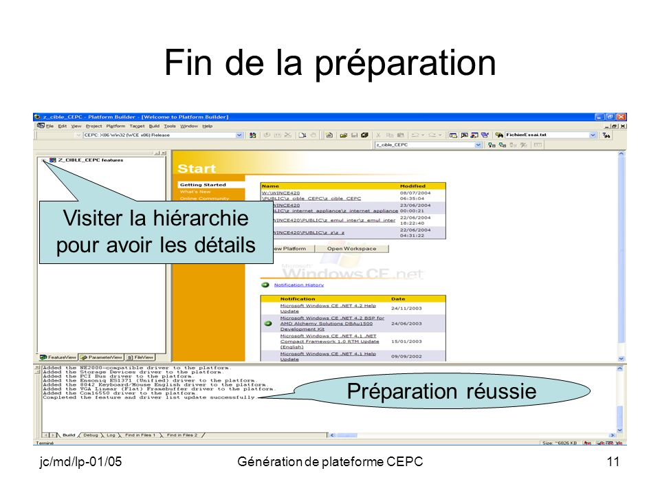 jc/md/lp-01/05Génération de plateforme CEPC11 Fin de la préparation Préparation réussie Visiter la hiérarchie pour avoir les détails