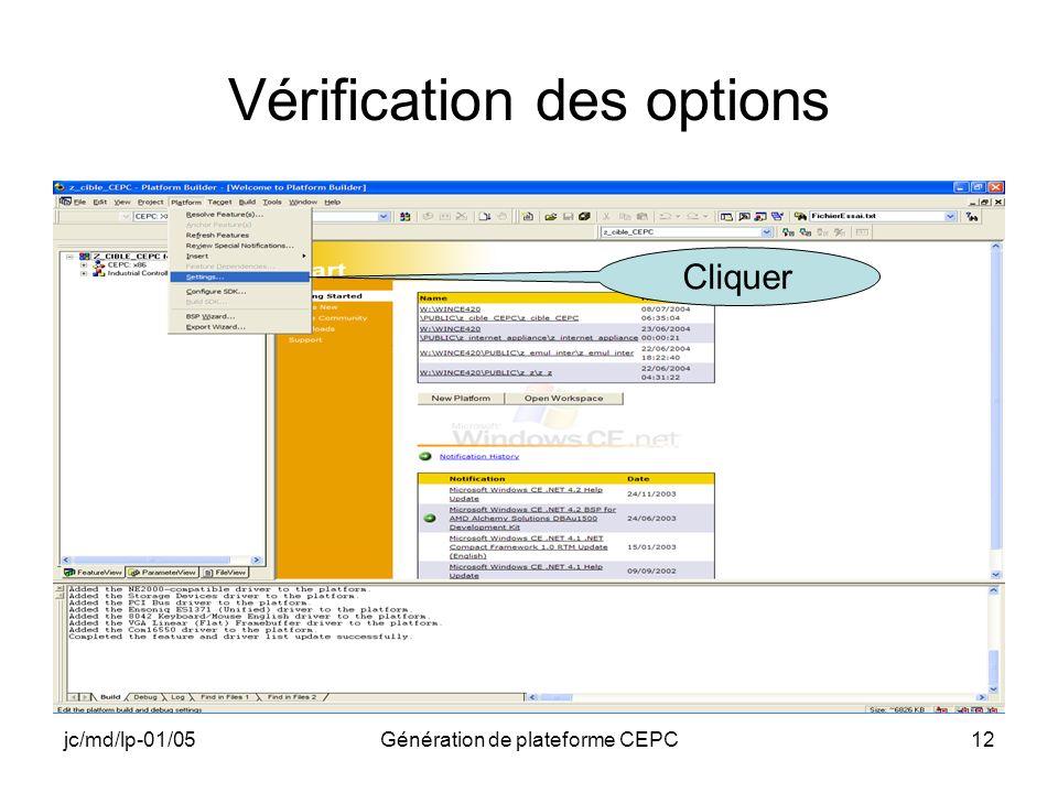 jc/md/lp-01/05Génération de plateforme CEPC12 Vérification des options Cliquer