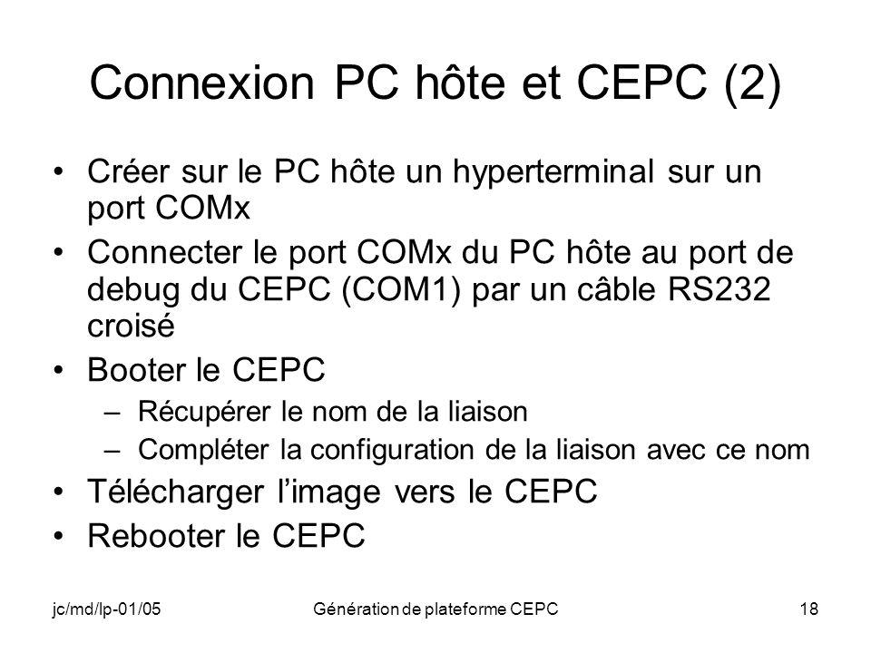jc/md/lp-01/05Génération de plateforme CEPC18 Connexion PC hôte et CEPC (2) Créer sur le PC hôte un hyperterminal sur un port COMx Connecter le port C