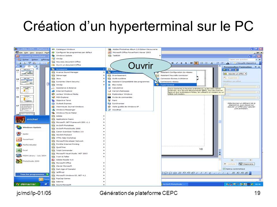 jc/md/lp-01/05Génération de plateforme CEPC19 Création dun hyperterminal sur le PC Ouvrir