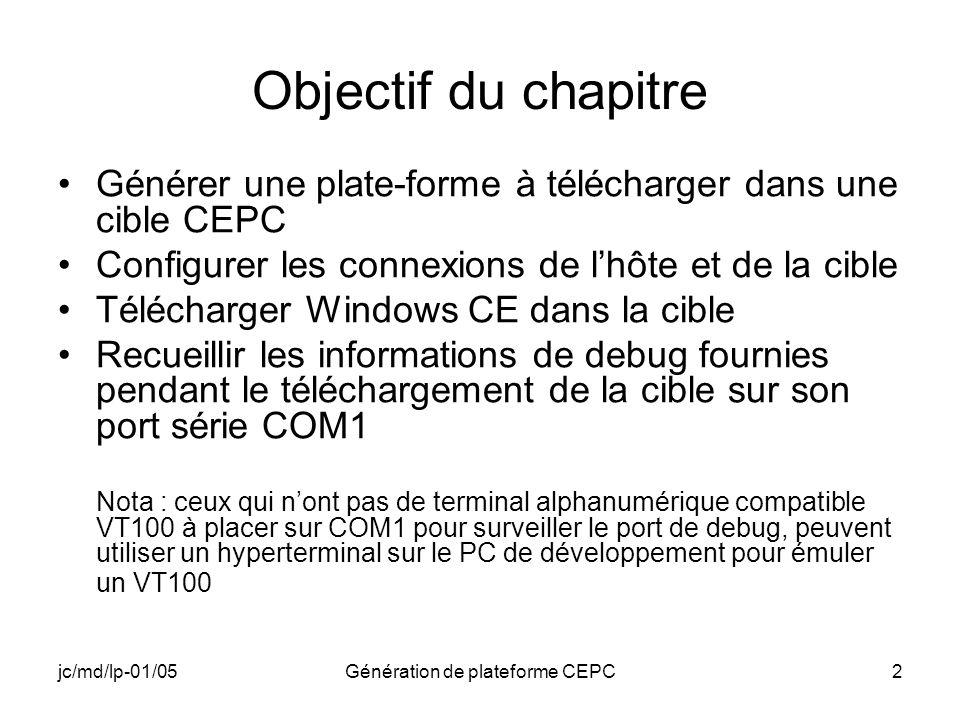 jc/md/lp-01/05Génération de plateforme CEPC2 Objectif du chapitre Générer une plate-forme à télécharger dans une cible CEPC Configurer les connexions
