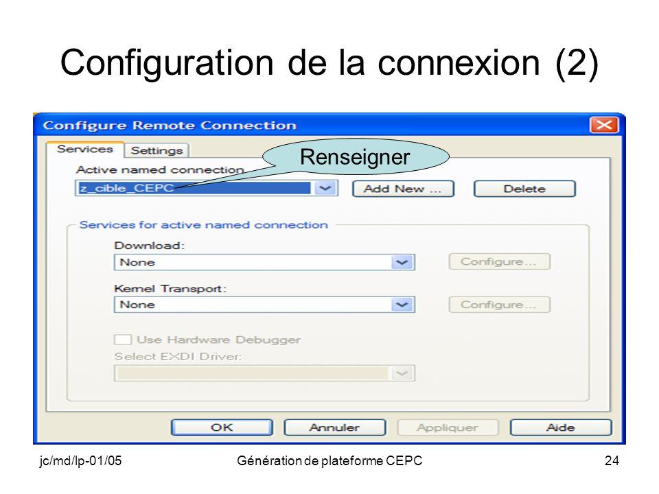 jc/md/lp-01/05Génération de plateforme CEPC24 Configuration de la connexion (2) Renseigner