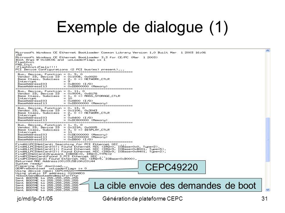 jc/md/lp-01/05Génération de plateforme CEPC31 Exemple de dialogue (1) CEPC49220 La cible envoie des demandes de boot