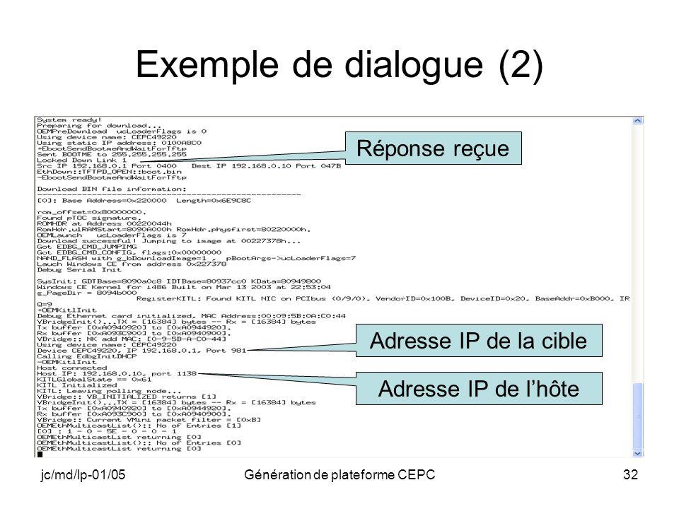 jc/md/lp-01/05Génération de plateforme CEPC32 Exemple de dialogue (2) Réponse reçue Adresse IP de la cible Adresse IP de lhôte