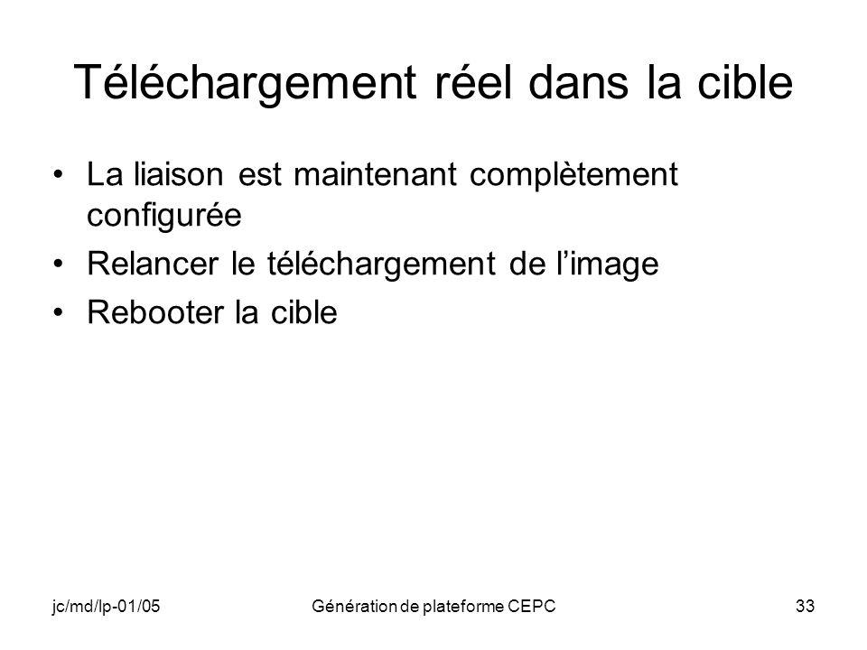 jc/md/lp-01/05Génération de plateforme CEPC33 Téléchargement réel dans la cible La liaison est maintenant complètement configurée Relancer le téléchar