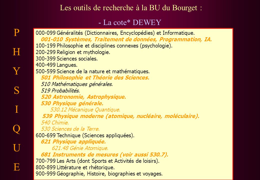 Les outils de recherche à la BU du Bourget : - La cote* DEWEY 000-099 Généralités (Dictionnaires, Encyclopédies) et Informatique. 001-010 Systèmes, Tr