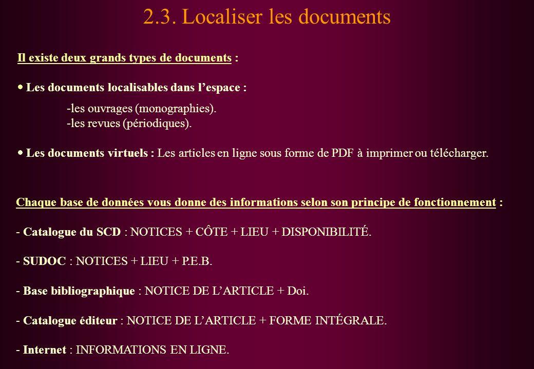2.3. Localiser les documents Il existe deux grands types de documents : Les documents localisables dans lespace : -les ouvrages (monographies). -les r