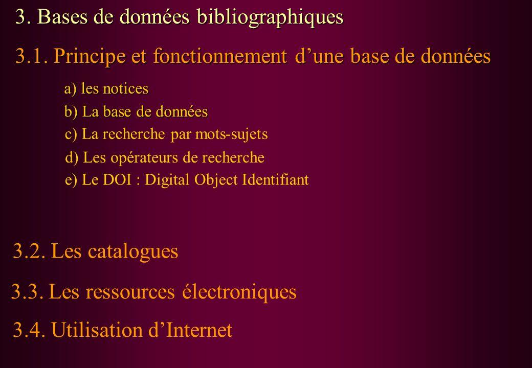 3. Bases de données bibliographiques 3.1. Principe et fonctionnement dune base de données a) les notices b) La base de données c) La recherche par mot