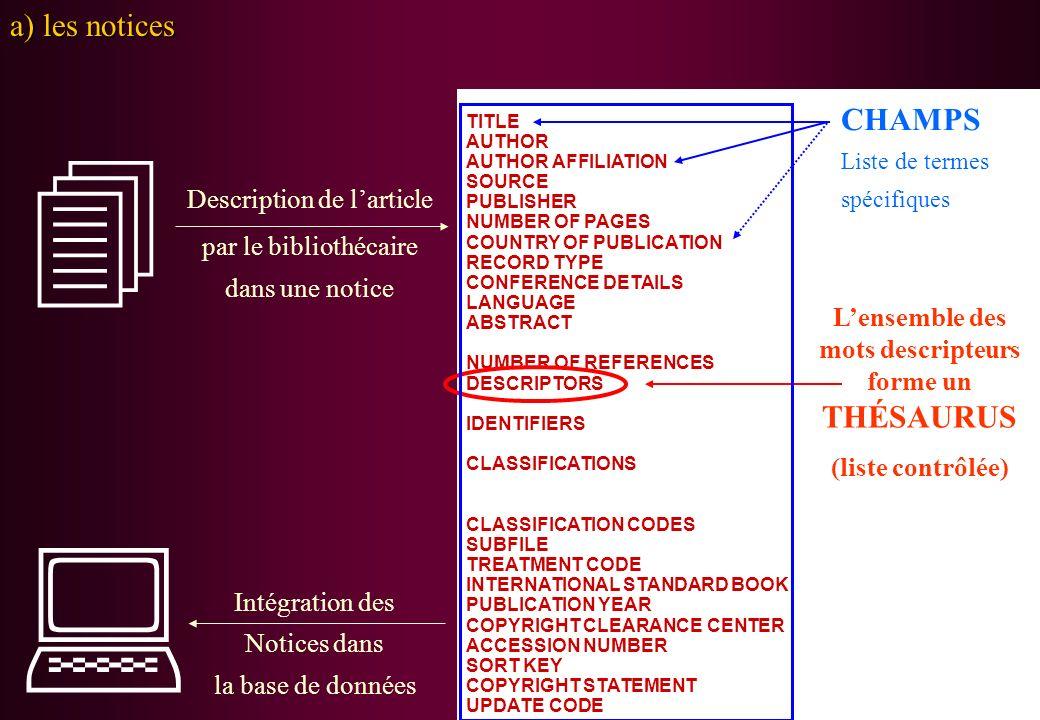 Description de larticle par le bibliothécaire dans une notice Intégration des Notices dans la base de données a) les notices TITLE AUTHOR AUTHOR AFFIL