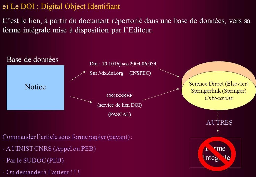 e) Le DOI : Digital Object Identifiant Cest le lien, à partir du document répertorié dans une base de données, vers sa forme intégrale mise à disposit