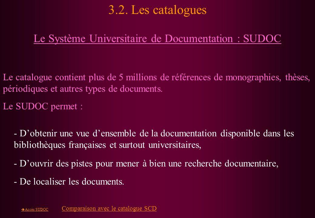 3.2. Les catalogues Le Système Universitaire de Documentation : SUDOC Le catalogue contient plus de 5 millions de références de monographies, thèses,