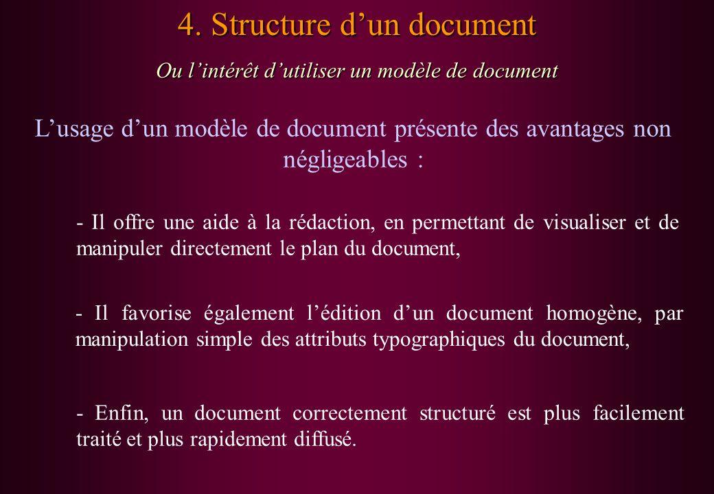 4. Structure dun document Ou lintérêt dutiliser un modèle de document Lusage dun modèle de document présente des avantages non négligeables : - Il off