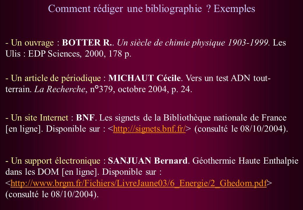 Comment rédiger une bibliographie ? Exemples - Un ouvrage : BOTTER R.. Un siècle de chimie physique 1903-1999. Les Ulis : EDP Sciences, 2000, 178 p. -