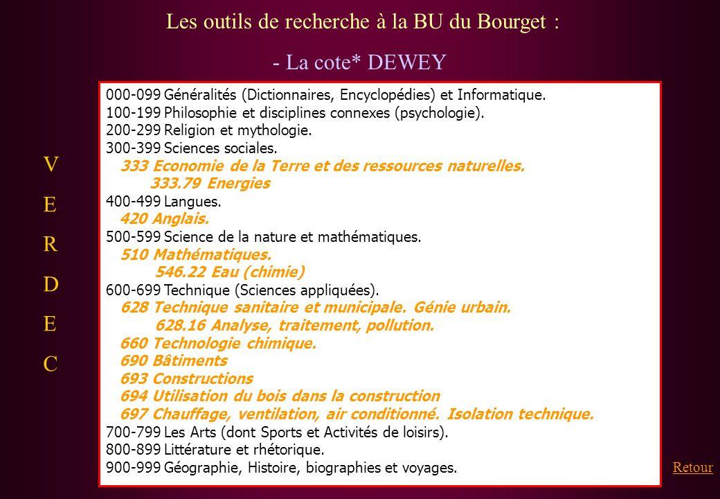Les outils de recherche à la BU du Bourget : - La cote* DEWEY 000-099 Généralités (Dictionnaires, Encyclopédies) et Informatique. 100-199 Philosophie