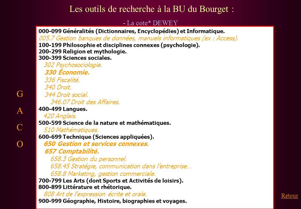Les outils de recherche à la BU du Bourget : - La cote* DEWEY 000-099 Généralités (Dictionnaires, Encyclopédies) et Informatique. 005.7 Gestion banque