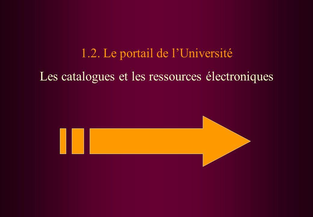 1.2. Le portail de lUniversité Les catalogues et les ressources électroniques
