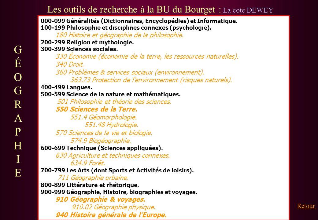 Les outils de recherche à la BU du Bourget : La cote DEWEY 000-099 Généralités (Dictionnaires, Encyclopédies) et Informatique. 100-199 Philosophie et