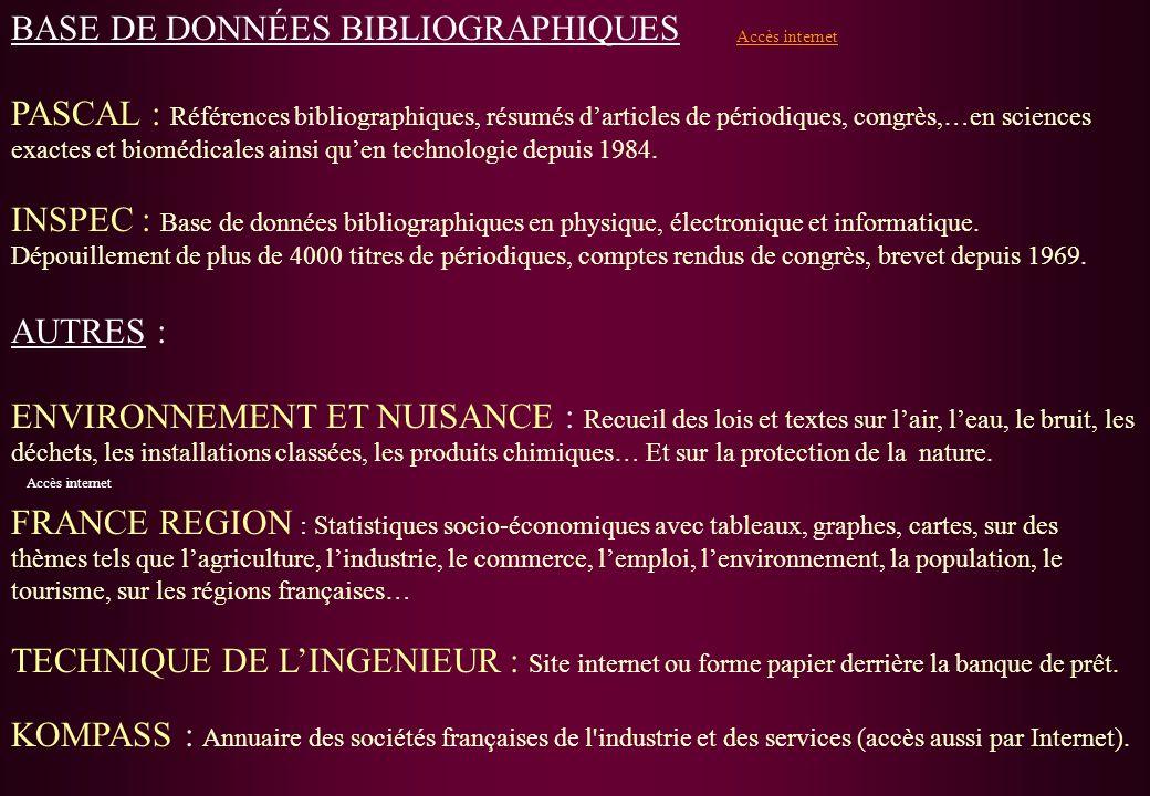 BASE DE DONNÉES BIBLIOGRAPHIQUES PASCAL : Références bibliographiques, résumés darticles de périodiques, congrès,…en sciences exactes et biomédicales