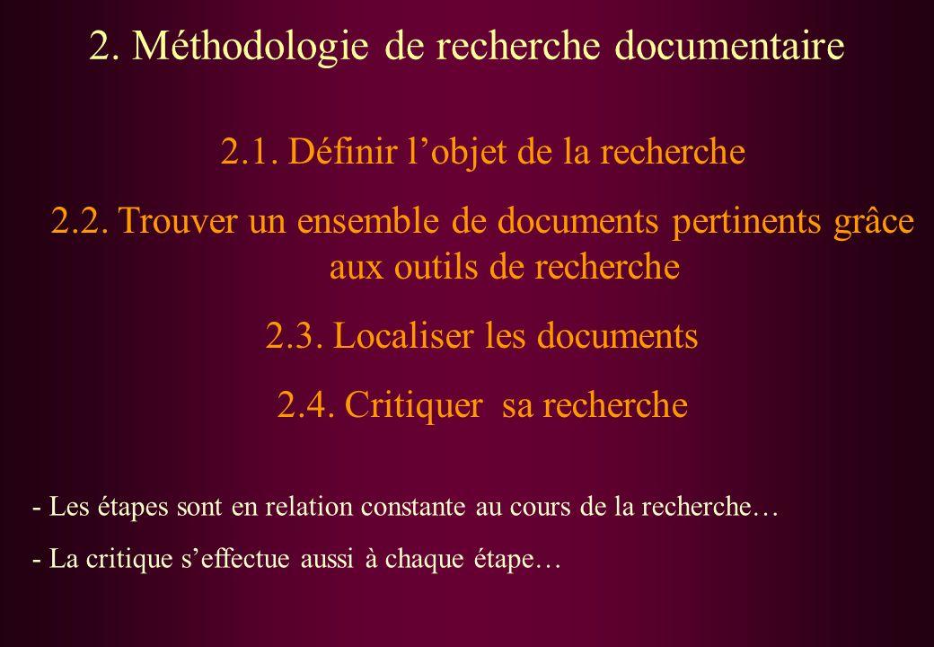 2. Méthodologie de recherche documentaire 2.1. Définir lobjet de la recherche 2.2. Trouver un ensemble de documents pertinents grâce aux outils de rec