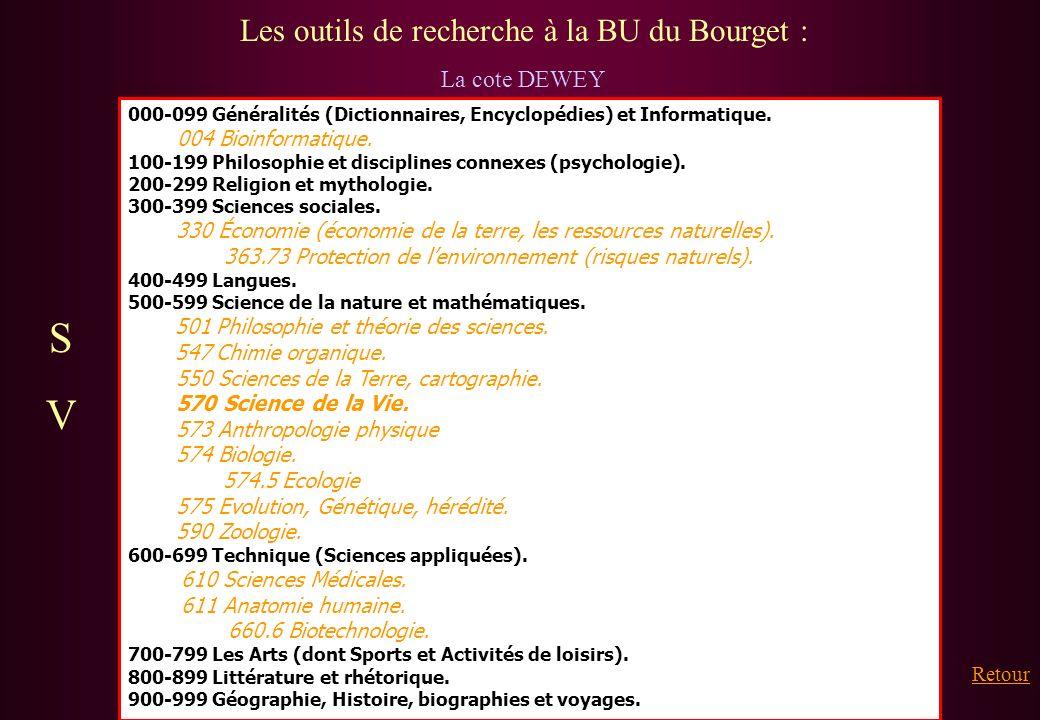 Les outils de recherche à la BU du Bourget : La cote DEWEY 000-099 Généralités (Dictionnaires, Encyclopédies) et Informatique. 004 Bioinformatique. 10