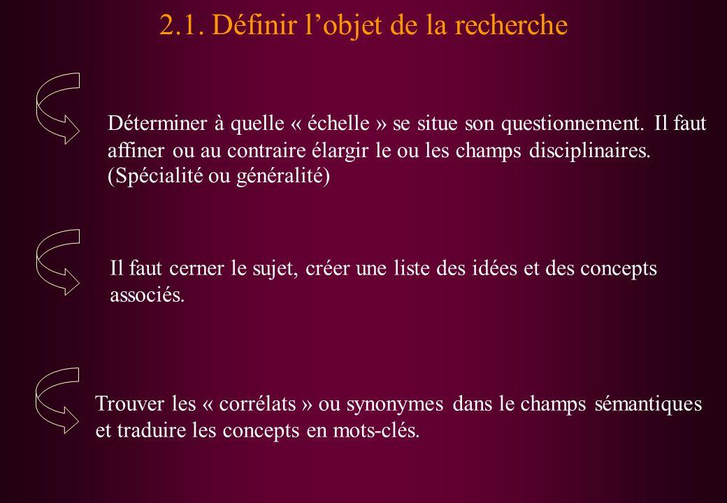 Trouver les « corrélats » ou synonymes dans le champs sémantiques et traduire les concepts en mots-clés. 2.1. Définir lobjet de la recherche Détermine