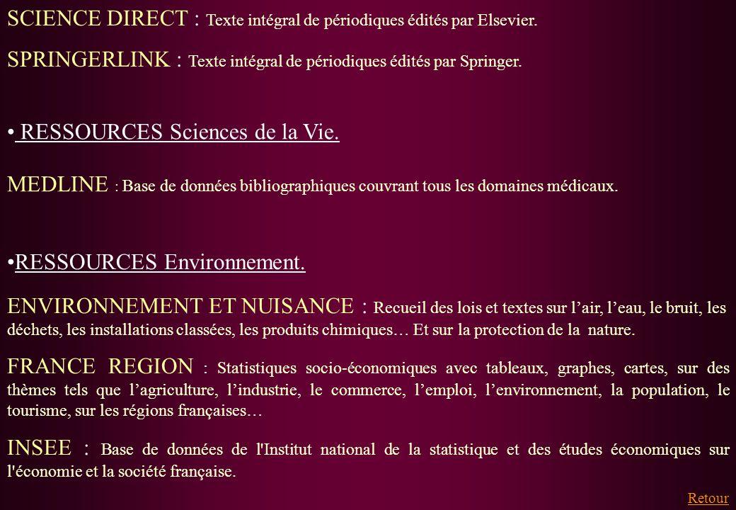 SCIENCE DIRECT : Texte intégral de périodiques édités par Elsevier. SPRINGERLINK : Texte intégral de périodiques édités par Springer. Retour RESSOURCE