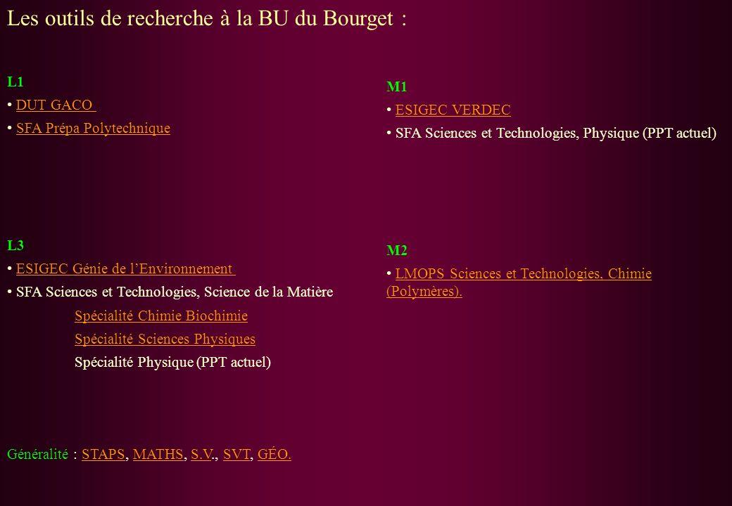 Les outils de recherche à la BU du Bourget : L1 DUT GACO SFA Prépa Polytechnique L3 ESIGEC Génie de lEnvironnement SFA Sciences et Technologies, Scien