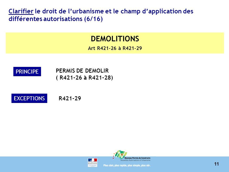 11 Clarifier le droit de lurbanisme et le champ dapplication des différentes autorisations (6/16) DEMOLITIONS Art R421-26 à R421-29 PRINCIPE PERMIS DE DEMOLIR ( R421-26 à R421-28) EXCEPTIONSR421-29