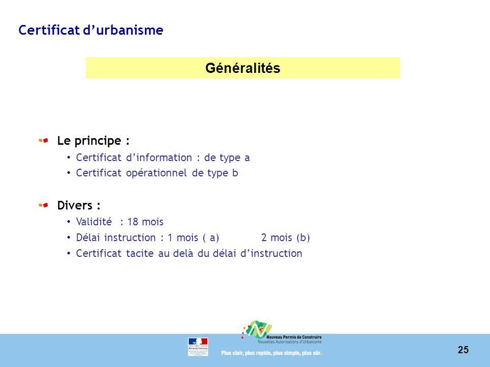 25 Certificat durbanisme Généralités Le principe : Certificat dinformation : de type a Certificat opérationnel de type b Divers : Validité : 18 mois D