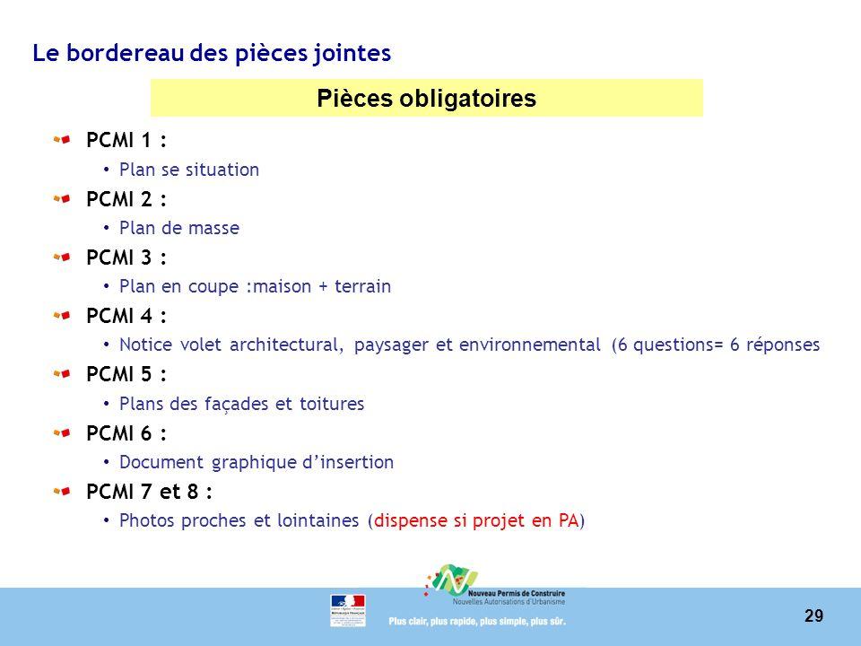 29 Le bordereau des pièces jointes Pièces obligatoires PCMI 1 : Plan se situation PCMI 2 : Plan de masse PCMI 3 : Plan en coupe :maison + terrain PCMI