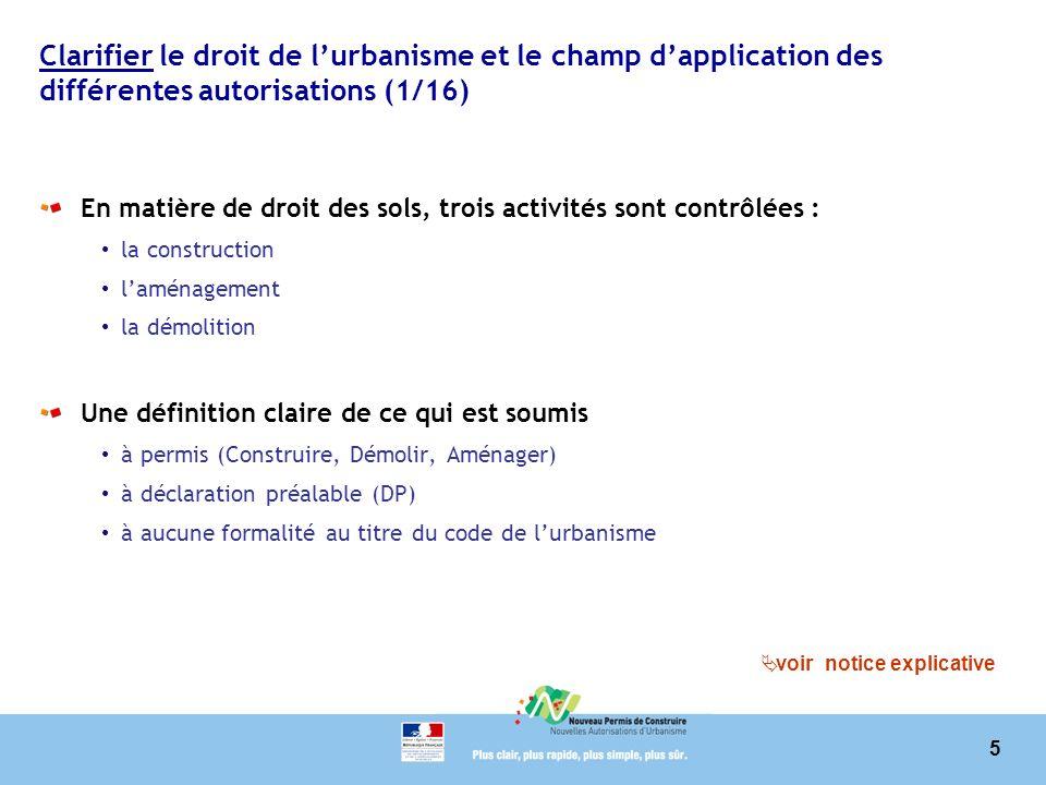 5 Clarifier le droit de lurbanisme et le champ dapplication des différentes autorisations (1/16) En matière de droit des sols, trois activités sont co