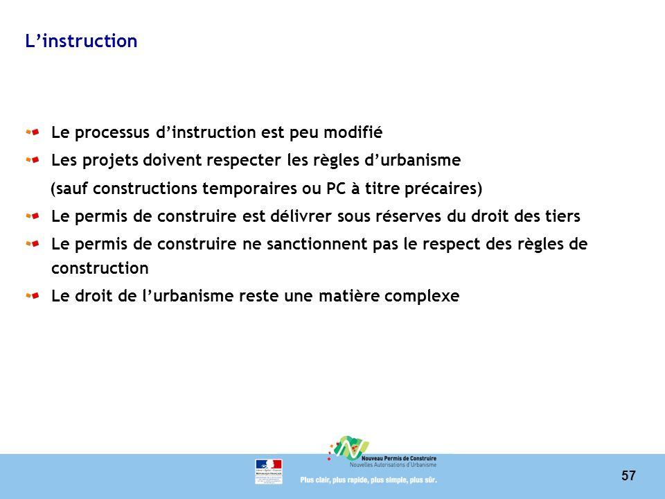 57 Linstruction Le processus dinstruction est peu modifié Les projets doivent respecter les règles durbanisme (sauf constructions temporaires ou PC à