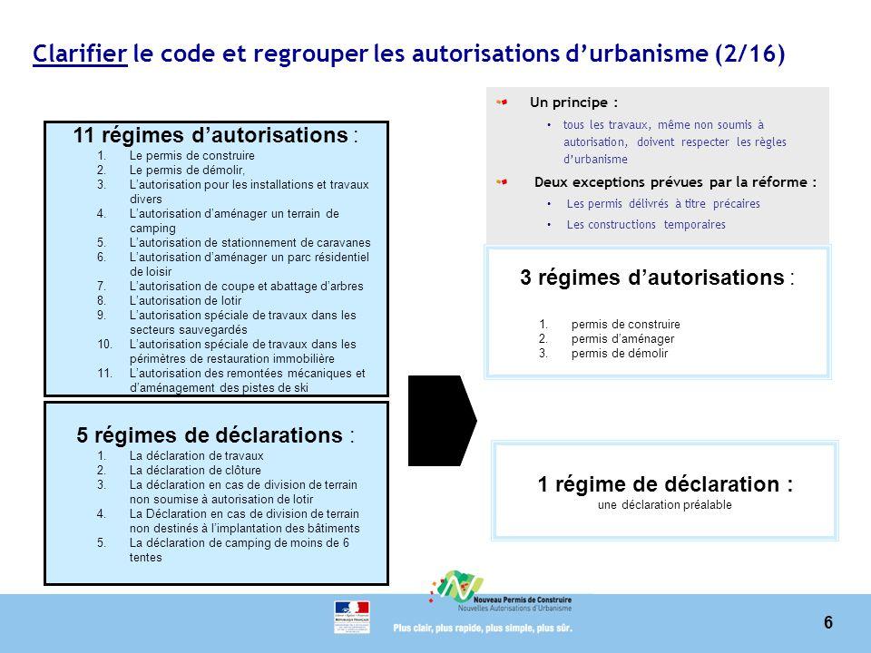 6 Clarifier le code et regrouper les autorisations durbanisme (2/16) 11 régimes dautorisations : 1.Le permis de construire 2.Le permis de démolir, 3.L