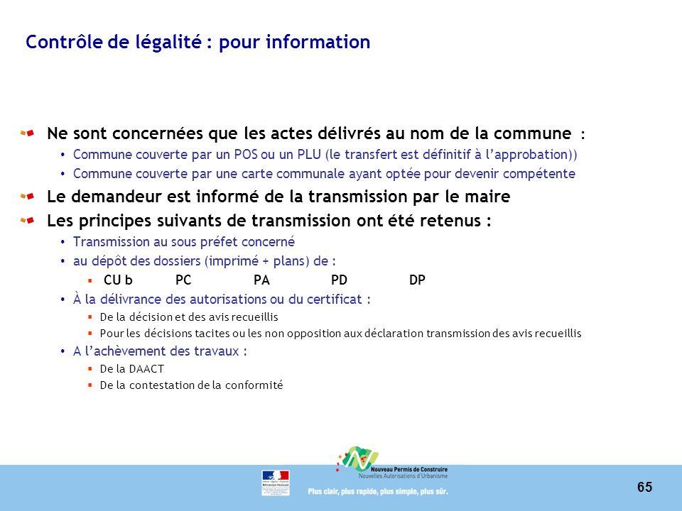 65 Contrôle de légalité : pour information Ne sont concernées que les actes délivrés au nom de la commune : Commune couverte par un POS ou un PLU (le