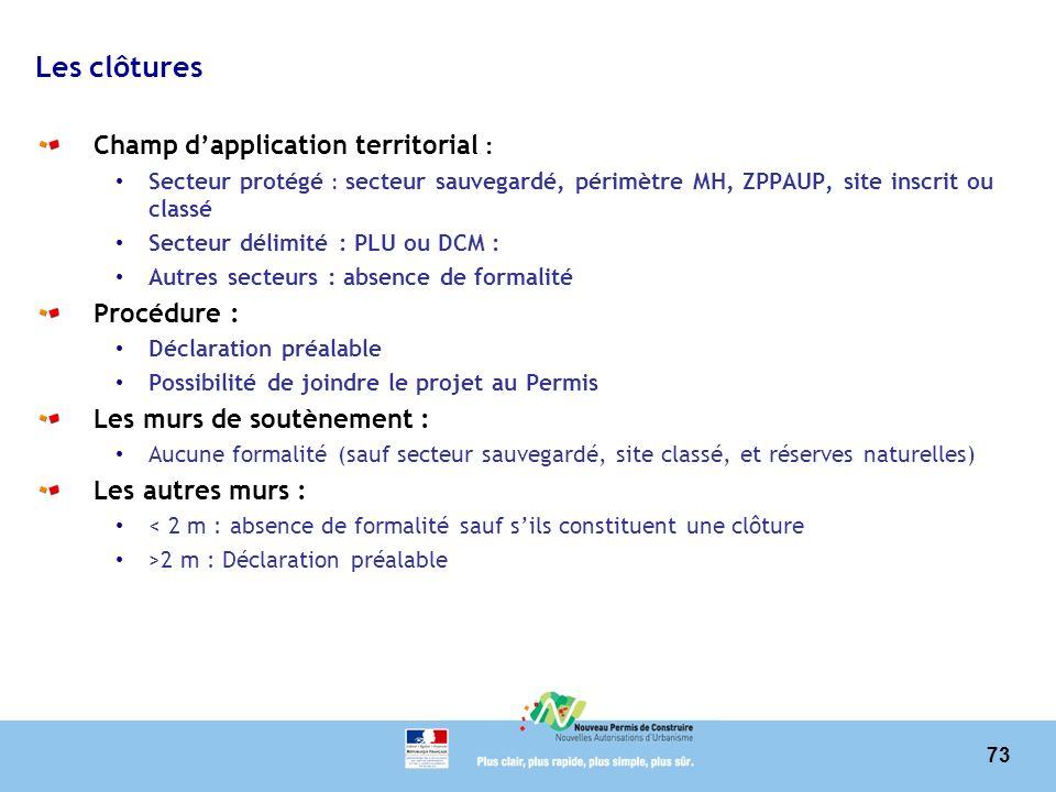 73 Les clôtures Champ dapplication territorial : Secteur protégé : secteur sauvegardé, périmètre MH, ZPPAUP, site inscrit ou classé Secteur délimité :