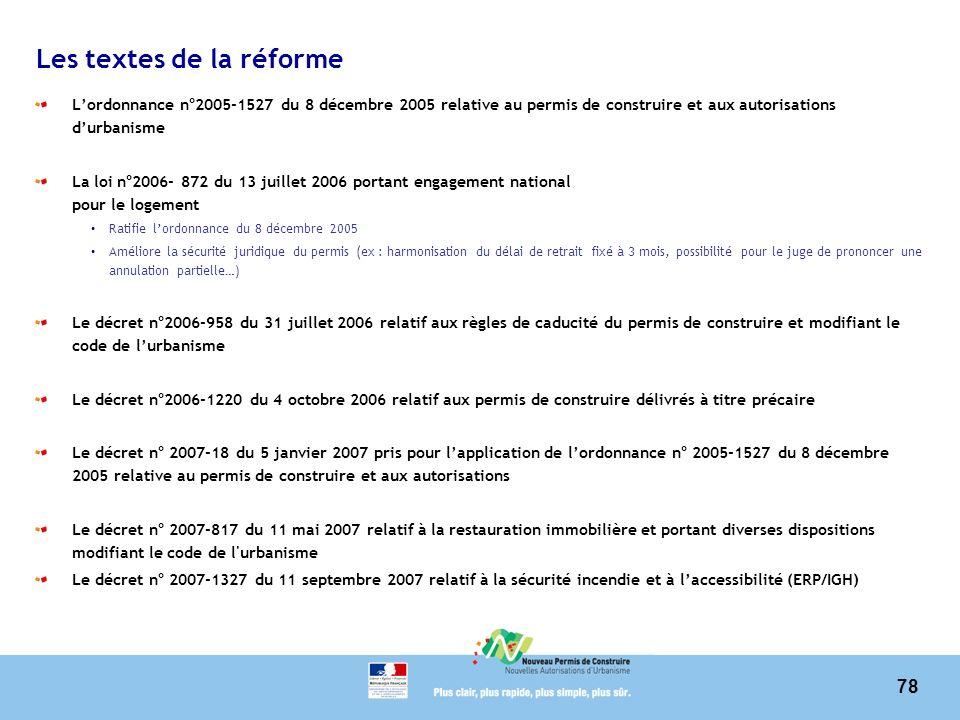 78 Les textes de la réforme Lordonnance n°2005-1527 du 8 décembre 2005 relative au permis de construire et aux autorisations durbanisme La loi n°2006-